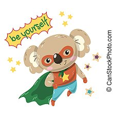Cute little koala flying Super Hero with green cape