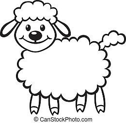 Cartoon contour image cute little lamb