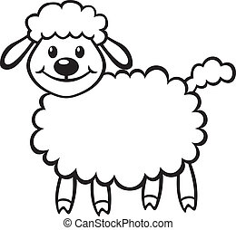 Cute little lamb - Cartoon contour image cute little lamb