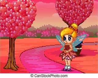 Cute little love fairy holding a heart in pink shades