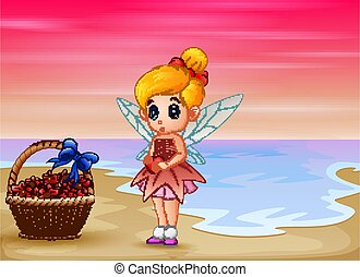 Cute little love fairy standing on the beach
