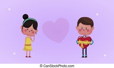 cute little lovers couple with boy giving heart gift characters