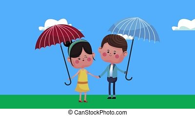 cute little lovers couple with umbrellas characters