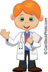 Cute little male doctor waving hand