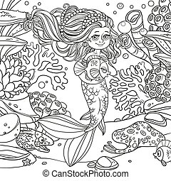 Cute little mermaid girl holds a pet fish on underwater world with corals, anemones, moray eels and ramp background outlined