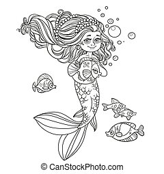 Cute little mermaid girl holds a pet fish outlined isolated on white background