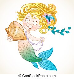 Cute little mermaid holding a shell