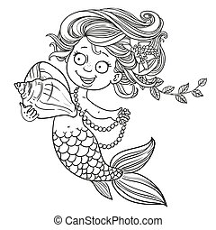 Cute little mermaid holding a shell outlined