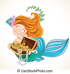 Cute little mermaid holding a treasure Chest