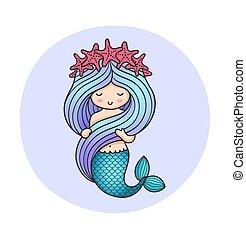 Cute little mermaid, holding her hair.