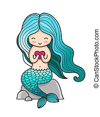 Cute little mermaid with heart, sitting on a rock.
