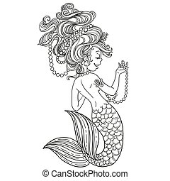 Cute little mermaid with pierls outlined