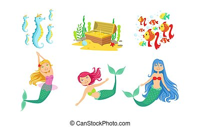 Cute Little Mermaids and Underwater World Elements Set, Fairytale Princess, Chest of Gold, Seahorses, Fishes Vector Illustration