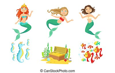 Cute Little Mermaids and Underwater World Elements Set, Fairytale Princess, Chest of Gold, Seahorses, Tropical Fishes Vector Illustration