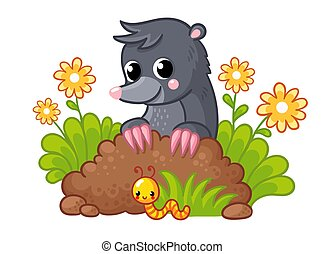 Cute little mole peeks out of the burrow. Vector illustration with animal