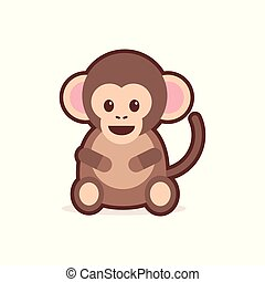 cute little monkey cartoon comic character with smiling face happy emoji anime kawaii style funny animals for kids concept