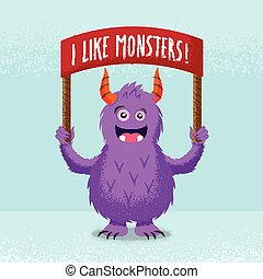 Cute Little Monster Standing With a Red Banner. Vector Illustration or Card