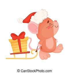 Cute little mouse carries a gift on a sled. Vector illustration on a white background.