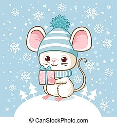 Cute little mouse in a winter hat stands on a snowdrift and holds a surprise in his hand.