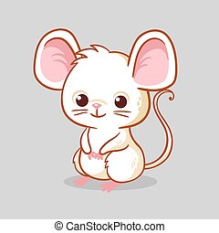 Cute little mouse is sitting on a gray background.