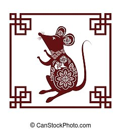 cute little mouse silhouette with frame