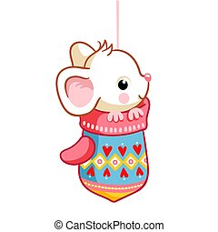 Cute little mouse sitting in a mitten on a white background. Vector illustration.