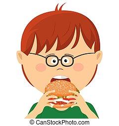 Cute little nerd boy with glasses eats burger