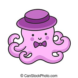 Cute little octopus in a hat, with bow-tie.