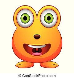 Cute little orange cartoon monster on white background
