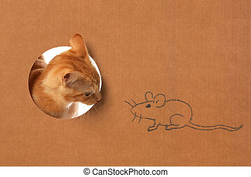 Cute little orange tabby kitten in a cardboard box playing with a mouse drawing
