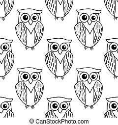 Cute little owl seamless pattern