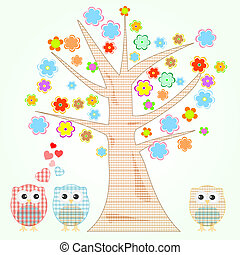 cute little owls in love tree