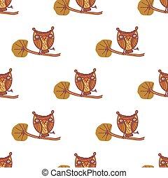 Cute little owls. Seamless pattern