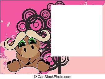 cute little oxen cartoon frame