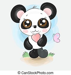 Cute little panda character isolated on watercolour background with heart and butterfly. Hand drawn cartoon art.