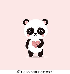 Cute little panda holds a Valentine in his hands.