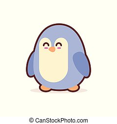 cute little penguin cartoon comic character with smiling face happy emoji anime kawaii style funny animals for kids concept