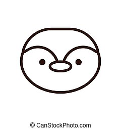 cute little penguin kawaii animal line style