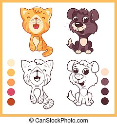 Cute little pets. Cartoon vector characters isolated on a white background with black outline.