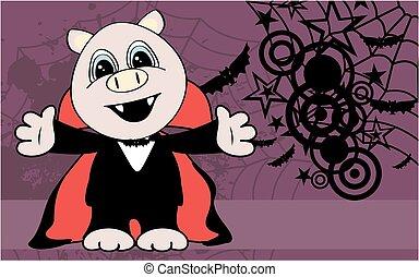 cute little pig hug dracula costume halloween backgorund
