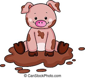 Cute little pig in the mud