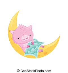 Cute little pig sleeping on the moon, lovely animal cartoon character, good night design element, sweet dreams vector Illustration on a white background
