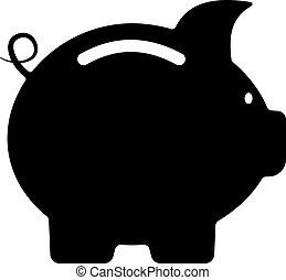 Cute little piggy bank silhouette - Cute little black and ...