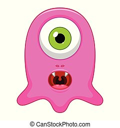 Cute little pink cartoon monster on white background