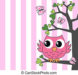 cute little pink owl - happy birthday baby shower or other ...