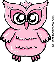 Cute little pink owl, illustration, vector on white background.