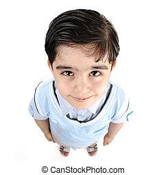 Cute little preschool boy isolated on white, mixed race,...