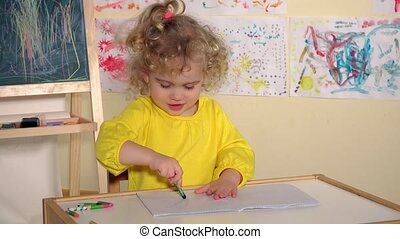 Cute little preschooler child girl drawing at home. Static...
