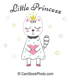 Cute little princess - baby illustration. Idea for print t-shirt.