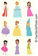 Cute little princess girls set, beautiful little girls in princess dresses vector Illustrations on a white background
